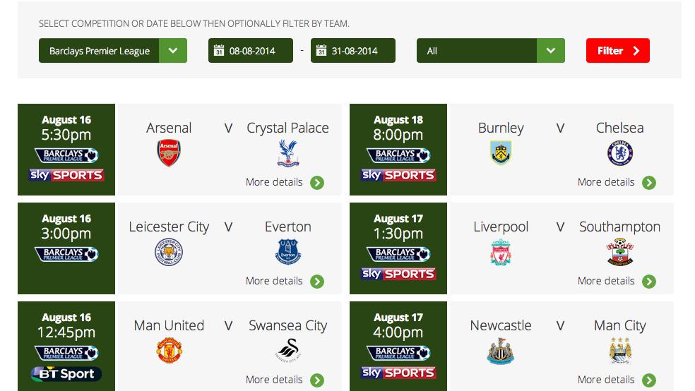 Virgin Media Football Fixtures Generator - GadgetsBoy - Gadgets and