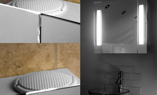 blast out booming bathroom beats with illuminated mirrors