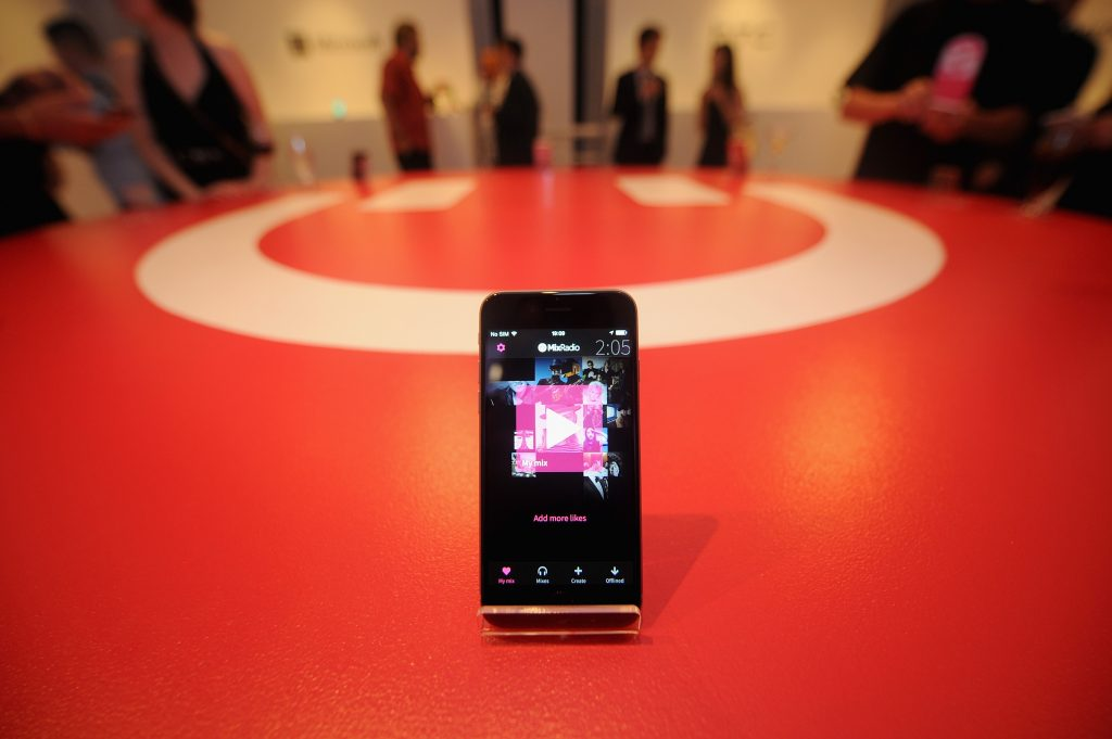 NEW YORK, NY - MAY 19: A device on display at the MixRadio iOS and Android launch event at 404 on May 19, 2015 in New York City.  (Photo by Brad Barket/Getty Images for MixRadio)