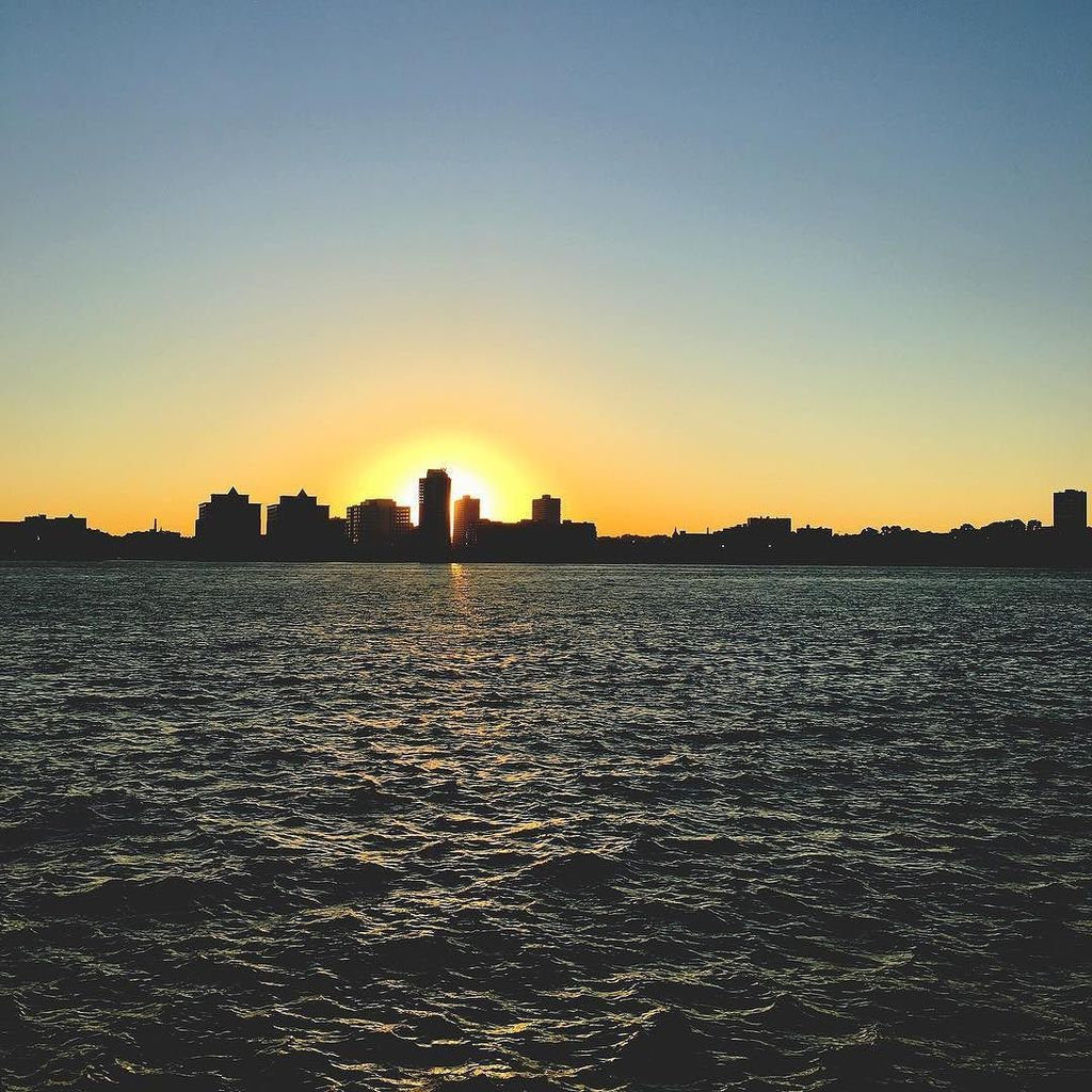 Sunset view from Hudson River Park - New York City